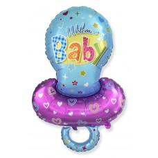 Фольгированный воздушный шар-фигура Соска-пустышка для мальчика голубой (102 см)