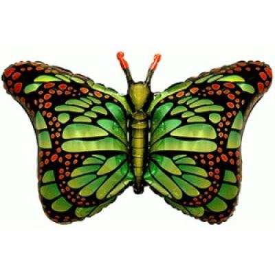 Фольгированный воздушный шар-фигура Бабочка-монарх зеленый (97 см)
