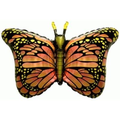 Фольгированный воздушный шар-фигура Бабочка-монарх оранжевый (97 см)