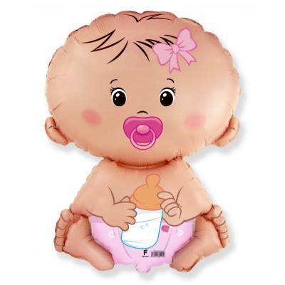 Фольгированный воздушный шар-фигура Малышка девочка розовый (66 см)