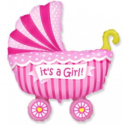Фольгированный воздушный шар-фигура Коляска для девочки розовый (102 см)