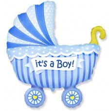 Фольгированный воздушный шар-фигура Коляска для мальчика голубой (102 см)