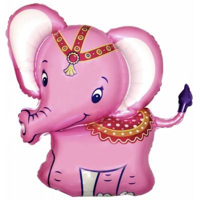 Фольгированный воздушный шар-фигура Слоник розовый (86 см)