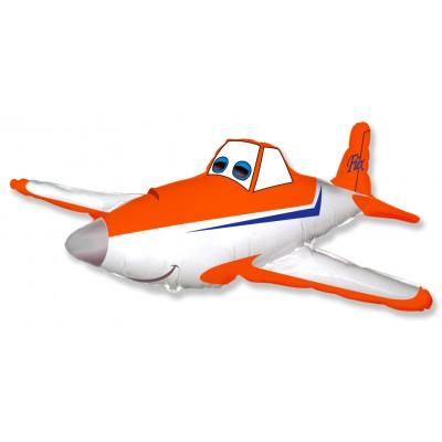 Фольгированный воздушный шар-фигура Гоночный самолет оранжевый (112 см)