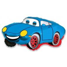 Фольгированный воздушный шар-фигура Гоночная машина синий (81 см)
