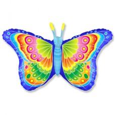 Фольгированный воздушный шар-фигура Бабочка кокетка синий (97 см)