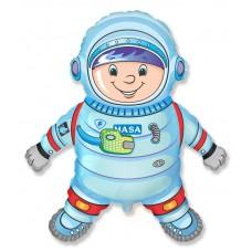 Фольгированный воздушный шар-фигура Космонавт голубой (102 см)
