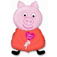 Фольгированный воздушный шар-фигура Поросенок с сердцем розовый (81 см)