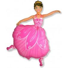 Фольгированный воздушный шар-фигура Балерина розовый (102 см)