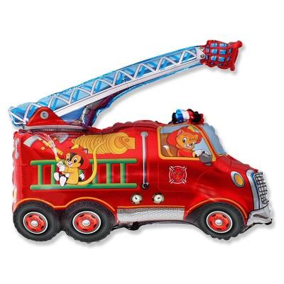 Фольгированный воздушный шар-фигура Пожарная машина красный (79 см)