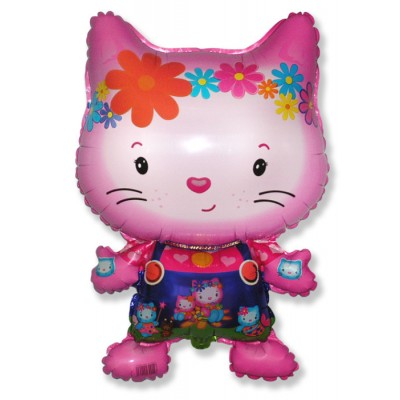 Фольгированный воздушный шар-фигура Маленький дружелюбный котенок фуше (74 см)