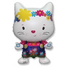 Фольгированный воздушный шар-фигура Маленький дружелюбный котенок белый (74 см)
