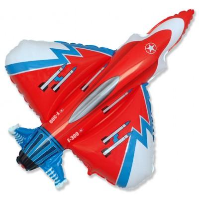 Фольгированный воздушный шар-фигура Самолет Истребитель красный (99 см)