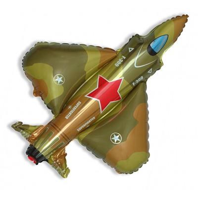 Фольгированный воздушный шар-фигура Самолет Истребитель военный (99 см)