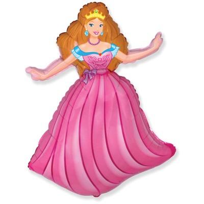 Фольгированный воздушный шар-фигура Принцесса розовый (99 см)