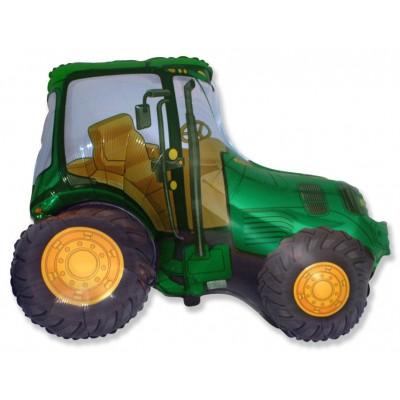Фольгированный воздушный шар-фигура Трактор зеленый (94 см)