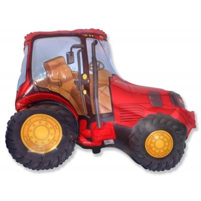 Фольгированный воздушный шар-фигура Трактор красный (94 см)