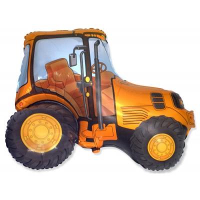 Фольгированный воздушный шар-фигура Трактор оранжевый (94 см)