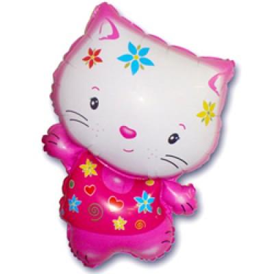 Фольгированный воздушный шар-фигура Котенок в цветах фуше (79 см)