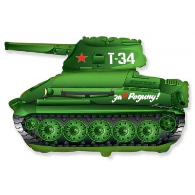 Фольгированный воздушный шар-фигура Танк T-34 зеленый (79 см)