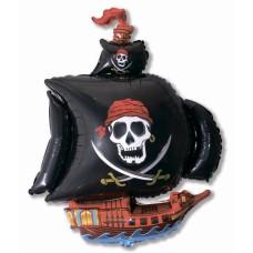 Фольгированный воздушный шар-фигура Пиратский корабль черный (104 см)
