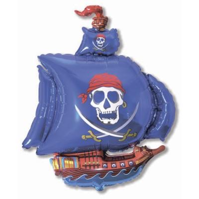 Фольгированный воздушный шар-фигура Пиратский корабль синий (104 см)