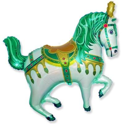 Фольгированный воздушный шар-фигура Цирковая лошадка зеленый (99 см)