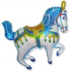 Фольгированный воздушный шар-фигура Лошадь ярмарочная синий (99 см)