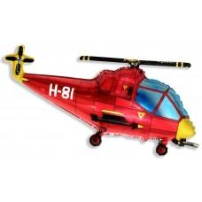 Фольгированный воздушный шар-фигура Вертолет красный (97 см)