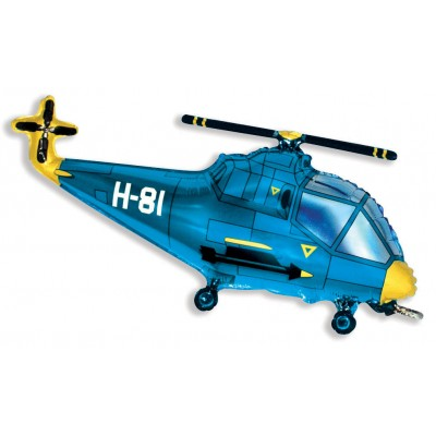 Фольгированный воздушный шар-фигура Вертолет синий (97 см)