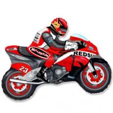 Фольгированный воздушный шар-фигура Мотоцикл красный (79 см)