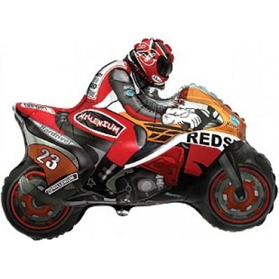 Фольгированный воздушный шар-фигура Мотоцикл оранжевый (79 см)