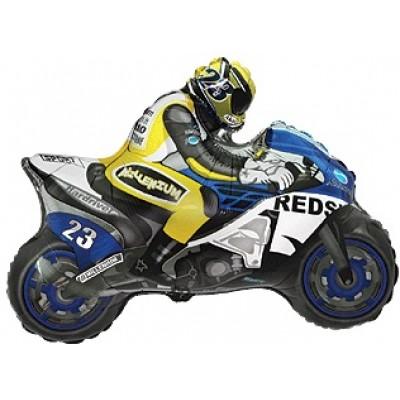 Фольгированный воздушный шар-фигура Мотоцикл синий (79 см)