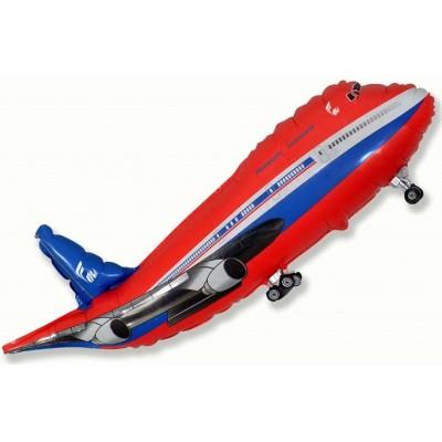 Фольгированный воздушный шар-фигура Самолет красный (99 см)