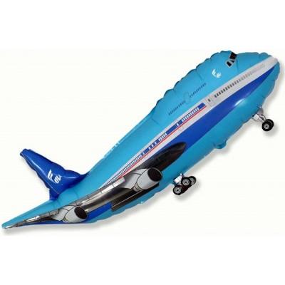 Фольгированный воздушный шар-фигура Самолет синий (99 см)