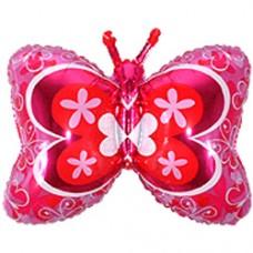 Фольгированный воздушный шар-фигура Бабочка декор фуше (89 см)