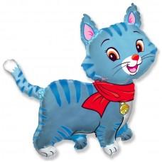 Фольгированный воздушный шар-фигура Любимый котенок синий (81 см)