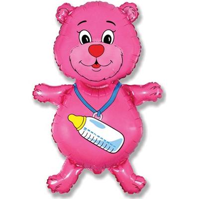 Фольгированный воздушный шар-фигура Медвежонок-девочка розовый (94 см)