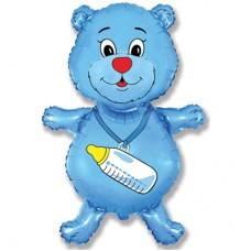 Фольгированный воздушный шар-фигура Медвежонок-мальчик синий (94 см)