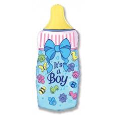 Фольгированный воздушный шар-фигура Бутылочка для мальчика голубой (79 см)