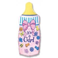 Фольгированный воздушный шар-фигура Бутылочка для девочки розовый (79 см)