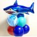 Фольгированный воздушный шар-фигура Страшная акула синий (107 см)