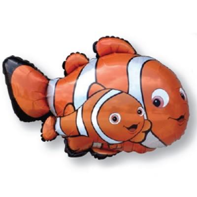 Фольгированный воздушный шар-фигура Рыба-клоун Немо оранжевый (86 см)
