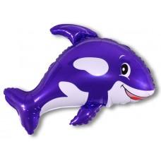 Фольгированный воздушный шар-фигура Морская касатка фиолетовый (89 см)