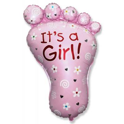 Фольгированный воздушный шар-фигура Ножка малышки №3 розовый (97 см)