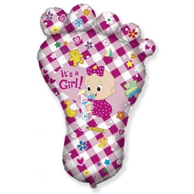 Фольгированный воздушный шар-фигура Ножка малышки №2  розовый (97 см)