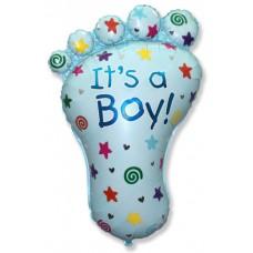 Фольгированный воздушный шар-фигура Ножка малыша-2 голубой (97 см)