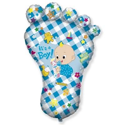 Фольгированный воздушный шар-фигура Ножка малыша голубой (97 см)