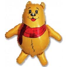 Фольгированный воздушный шар-фигура Медвежонок с красным шарфом желтый (84 см)