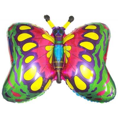 Фольгированный воздушный шар-фигура Бабочка зеленый (89 см)